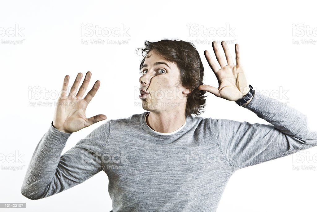 young man crushed on glass royalty-free stock photo