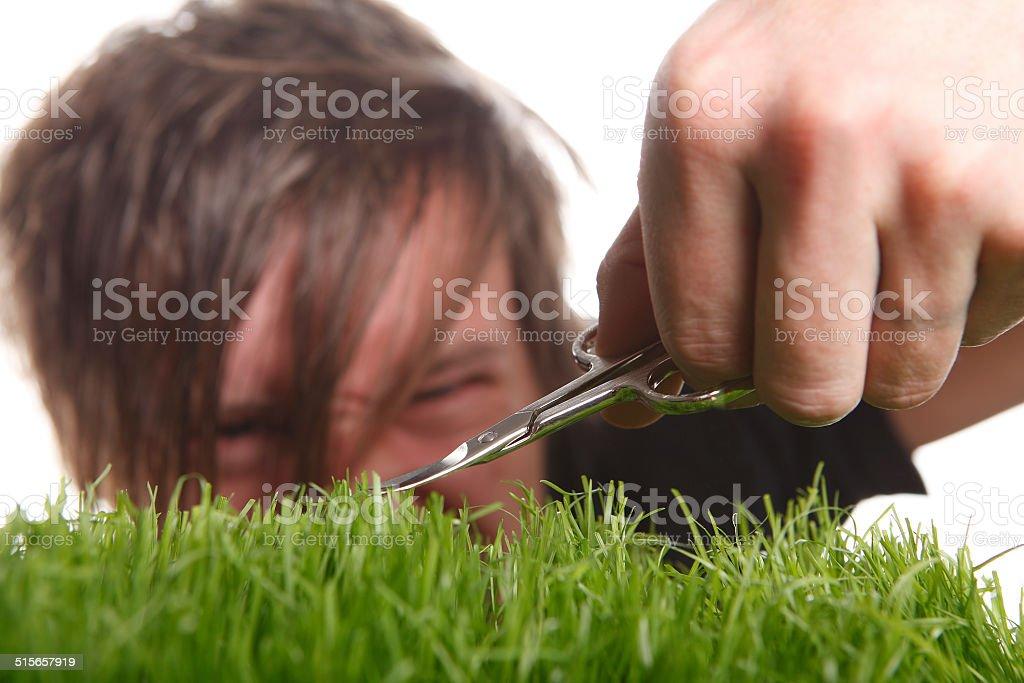 Young man cuts English lawn stock photo
