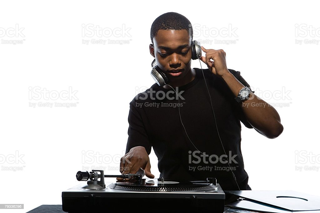 Young man djing stock photo