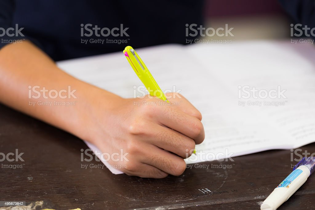young man do a paper work stock photo