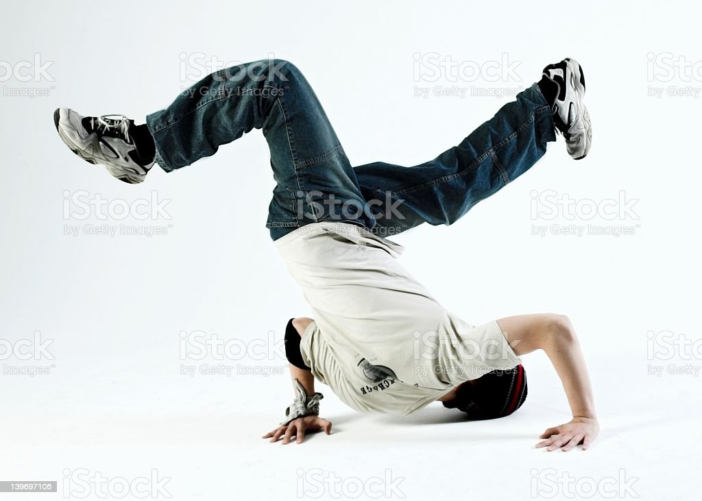 A young man doing a freestyle dance stock photo