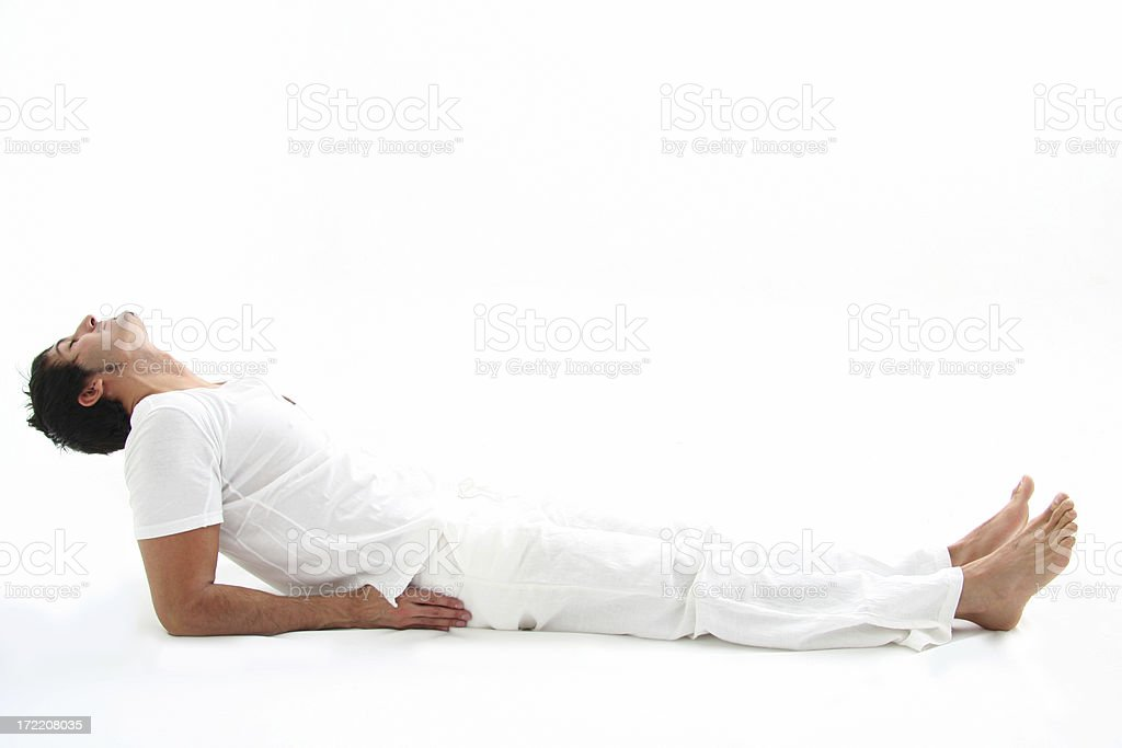 Young Man Doing Yoga stock photo
