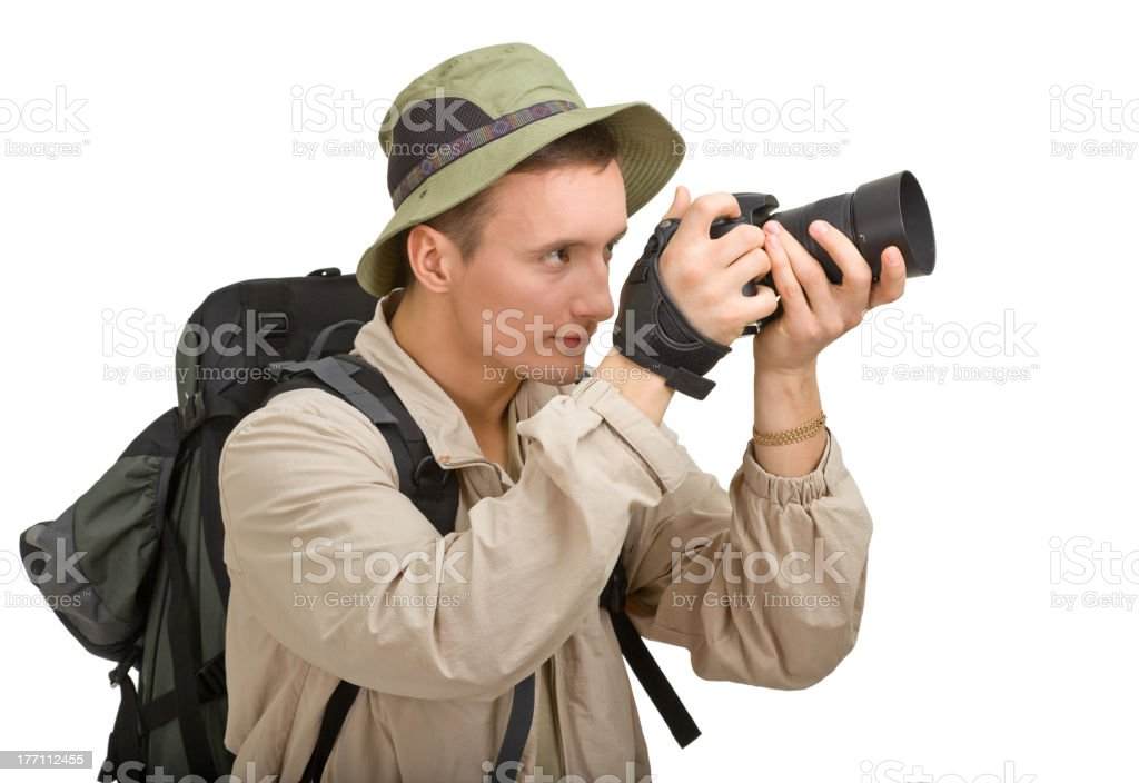 young man dressed in a tourist royalty-free stock photo