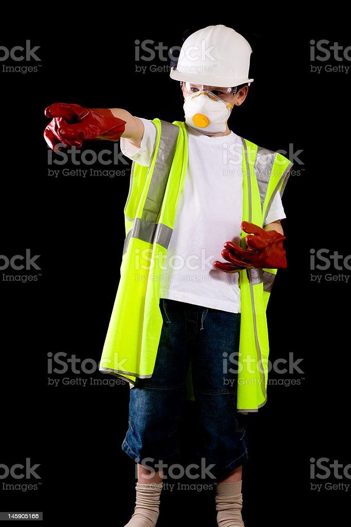 Jeune homme habillé en Tenue de protection photo libre de droits