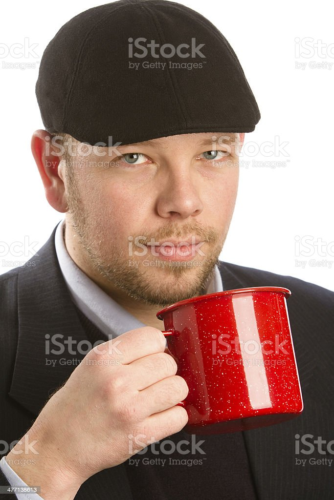 Young Man Drinking Coffee stock photo