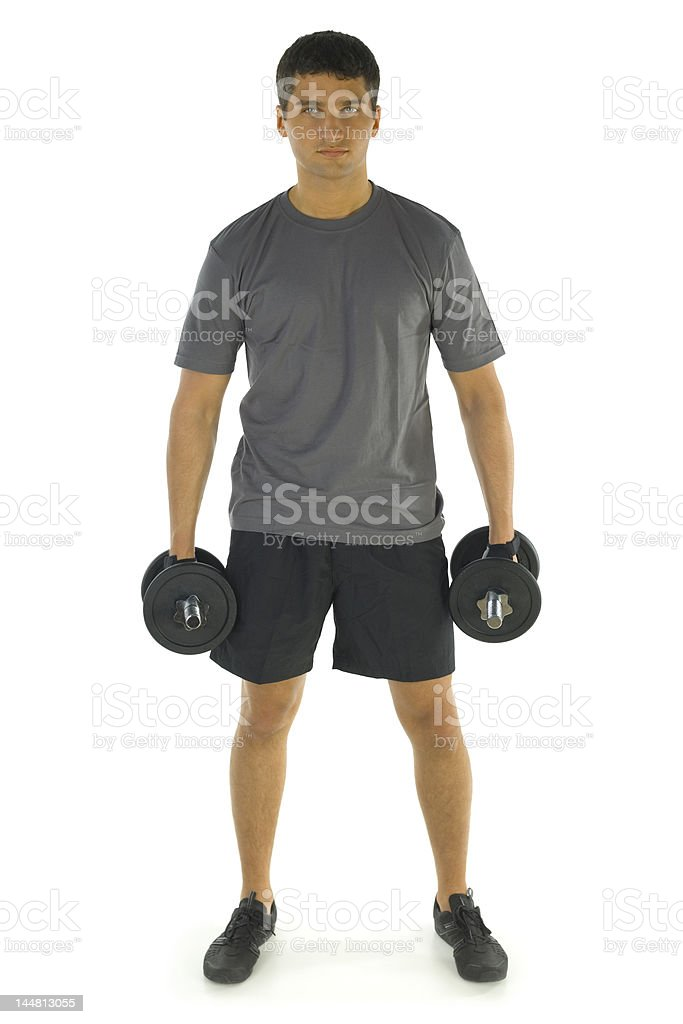 Young man during exercising royalty-free stock photo