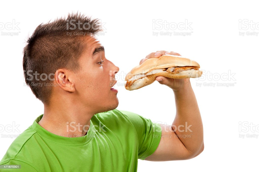 Young man eating sandwich royalty-free stock photo