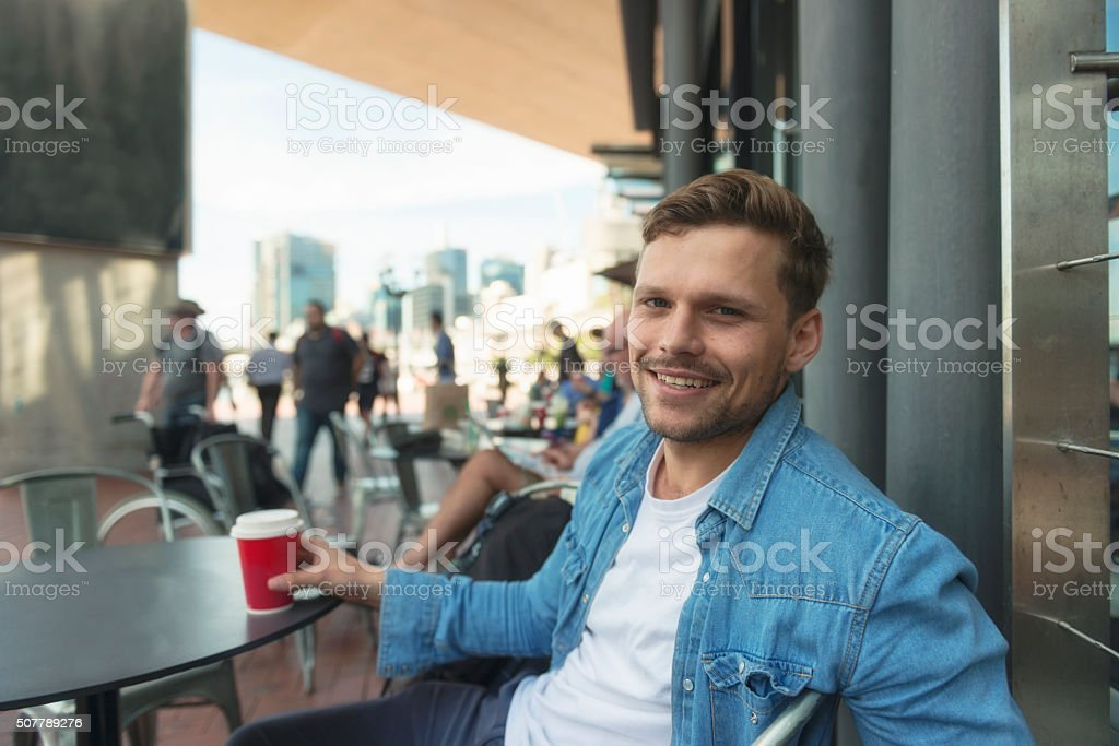 Young man enjoying day out stock photo