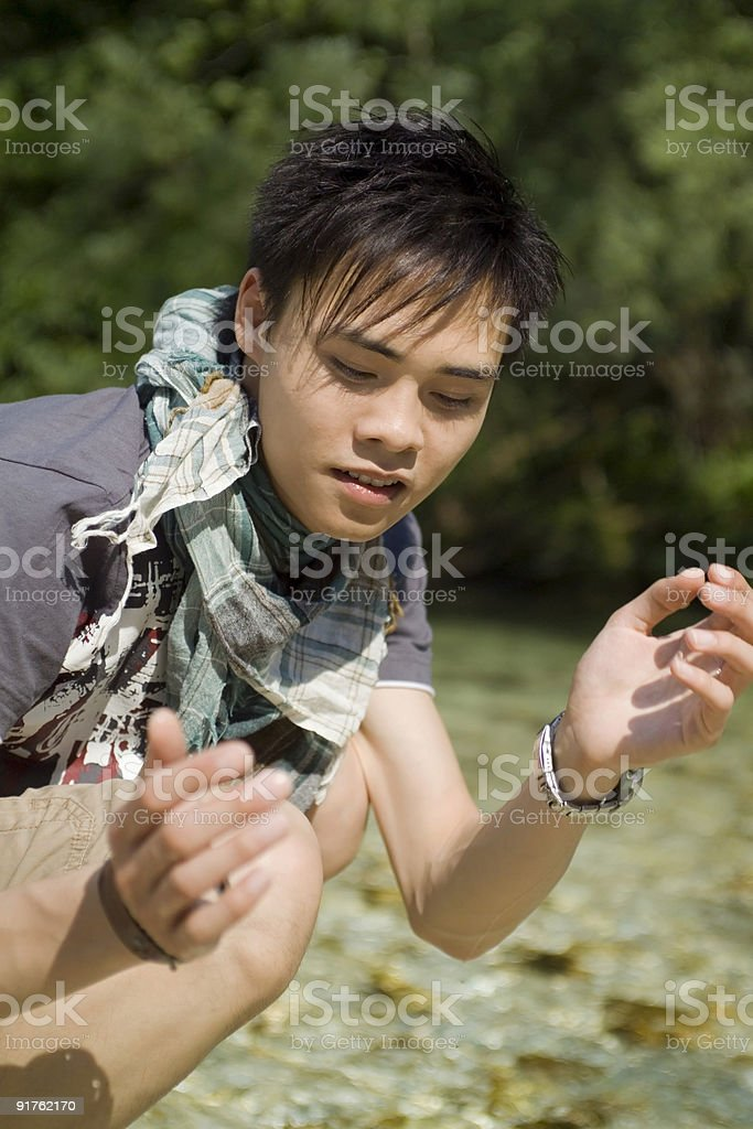 Young Man Enjoying In The Nature royalty-free stock photo