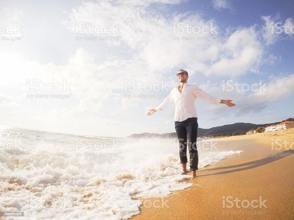 Young man enjoying stock photo