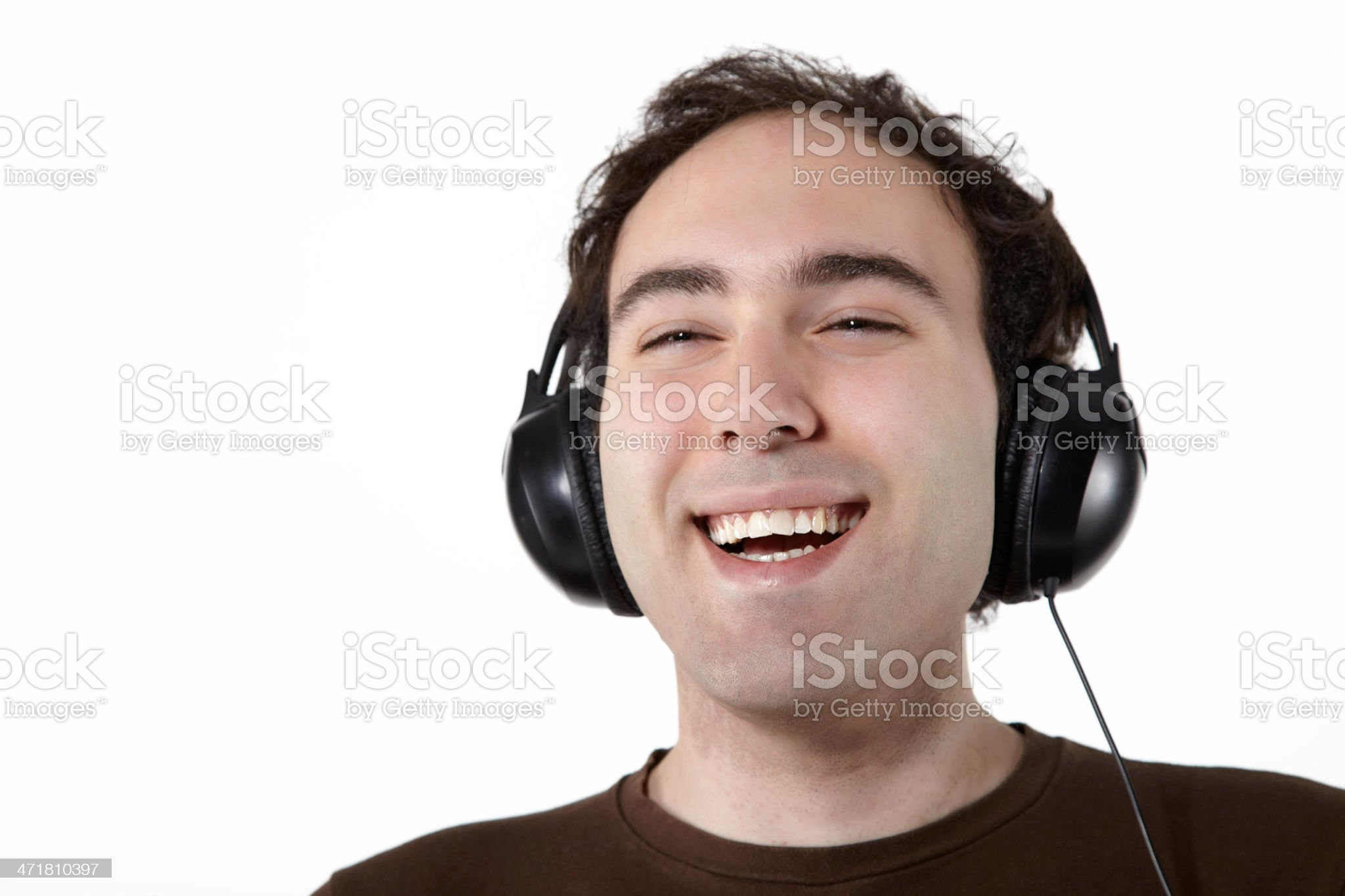 Young man enjoying the music royalty-free stock photo