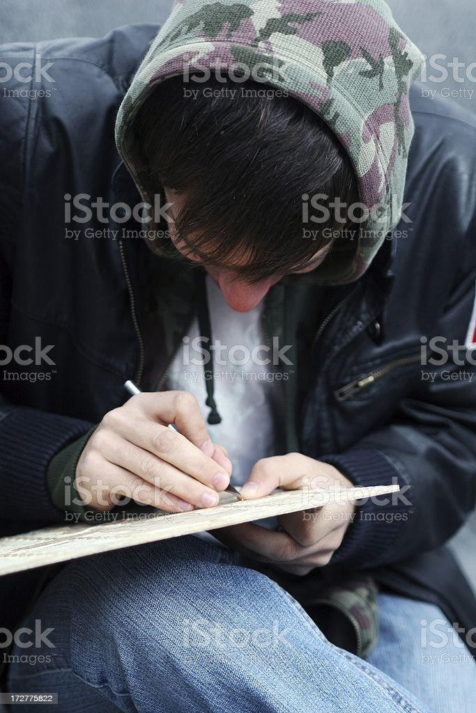 Young Man Etching stock photo