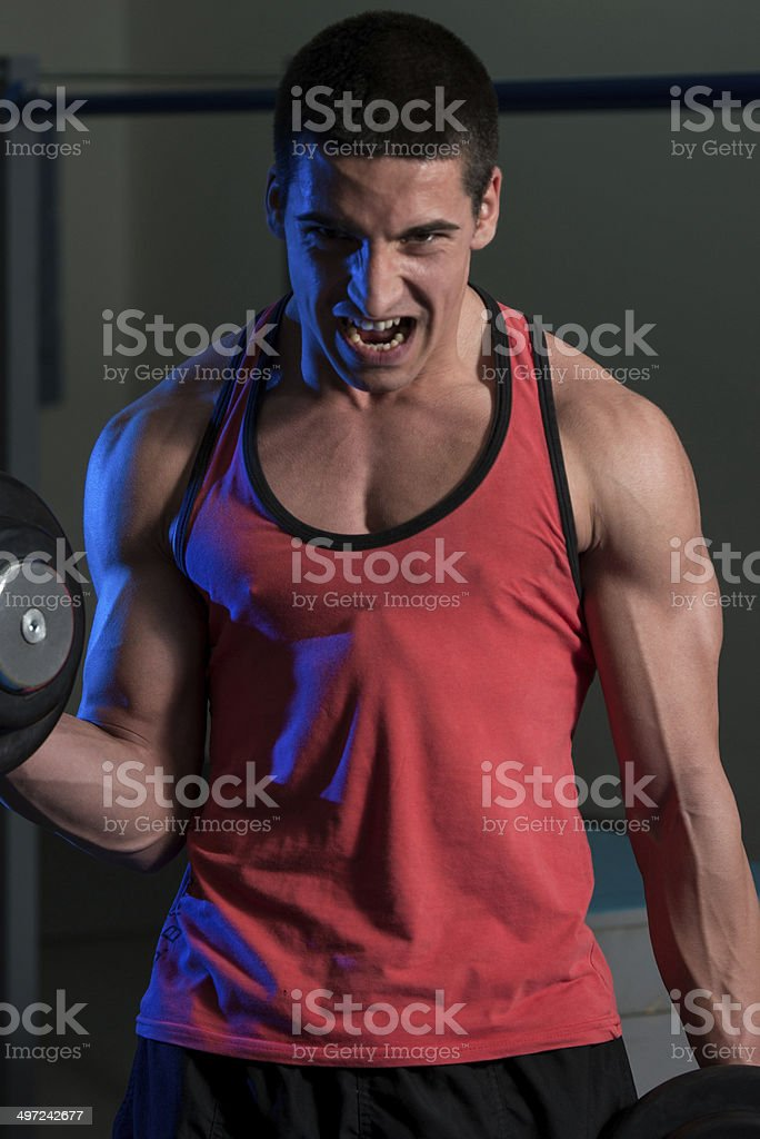 Young Man Exercise With Dumbbells royalty-free stock photo