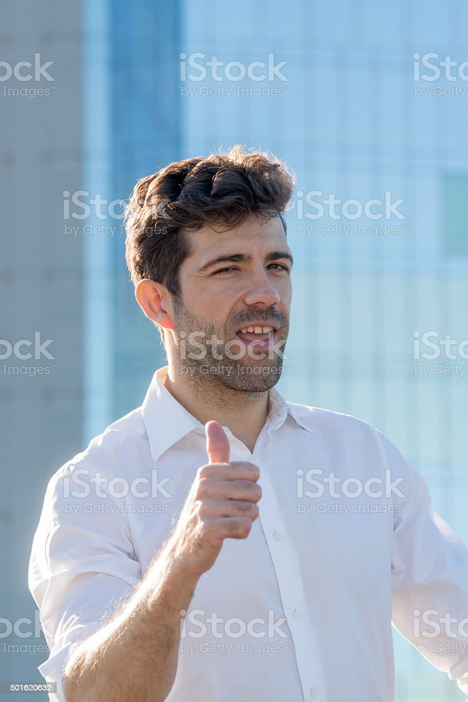 young man expresses good play stock photo