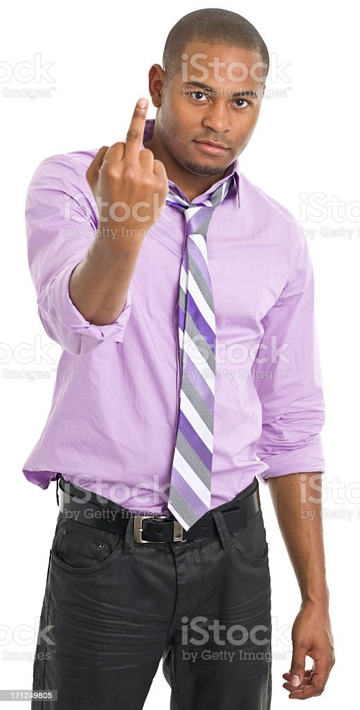 Young Man Extends Middle Finger royalty-free stock photo