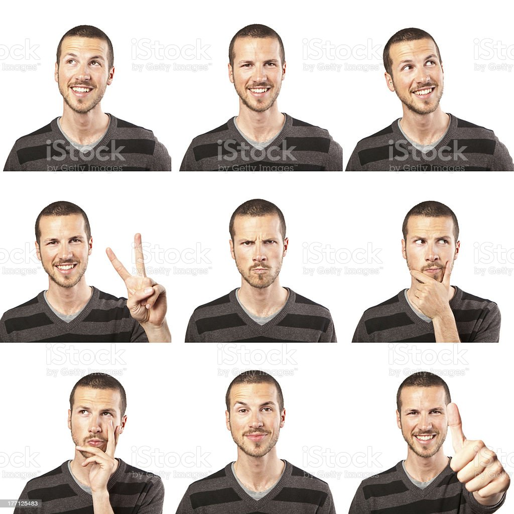 young man face expressions composite isolated on white background stock photo