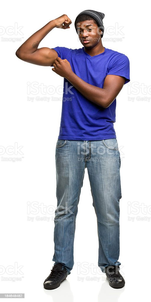 Young Man Flexing Bicep royalty-free stock photo