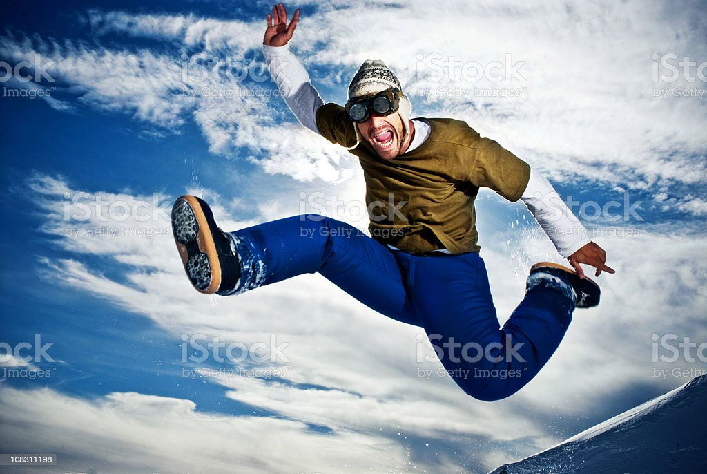 Young man flying royalty-free stock photo