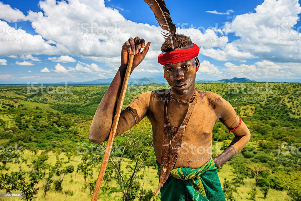 Young man from Mursi tribe, Ethiopia, Africa stock photo