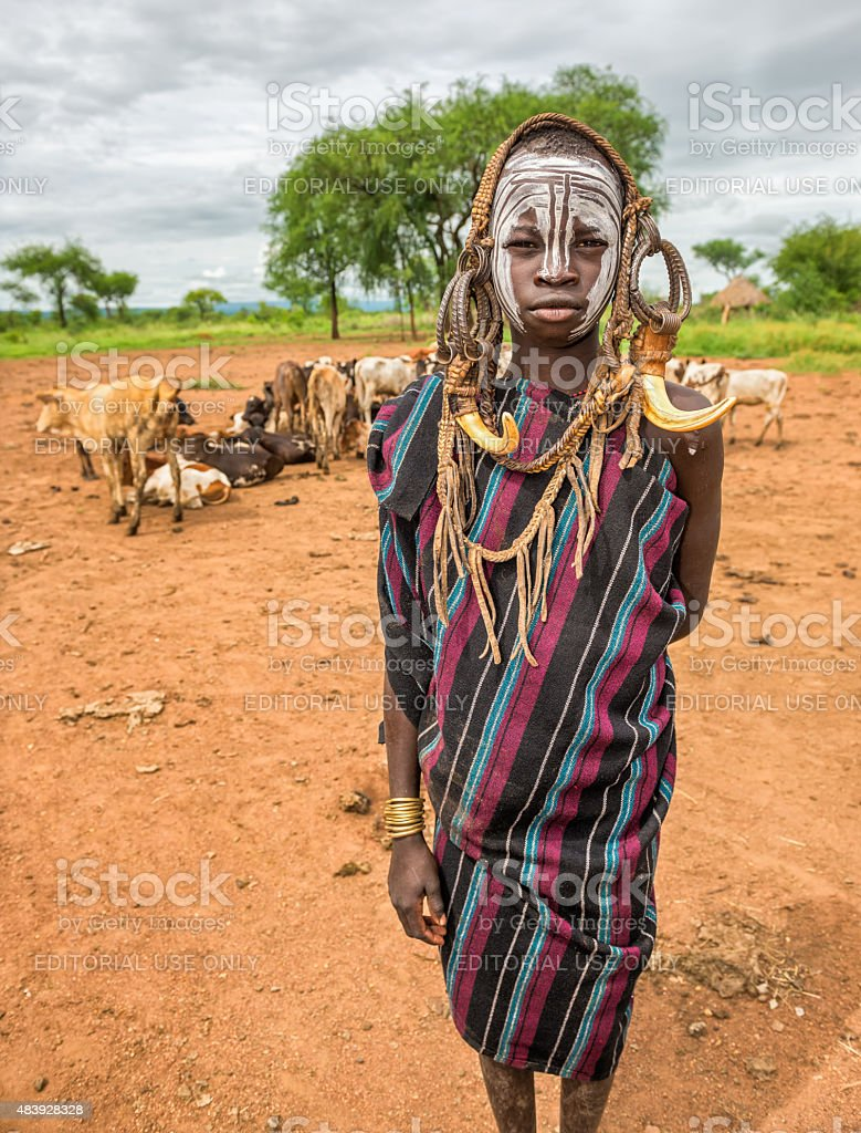 Young man from the African tribe Mursi, Ethiopia stock photo