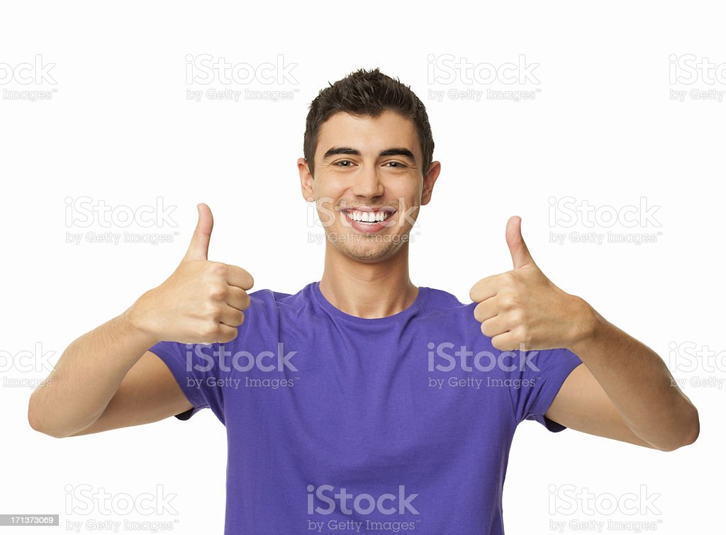 Young Man Gesturing Double Thumbs Up - Isolated royalty-free stock photo