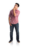 Young man gesturing thinking