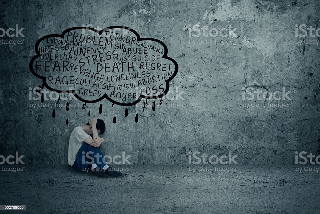 Young man getting problems stock photo