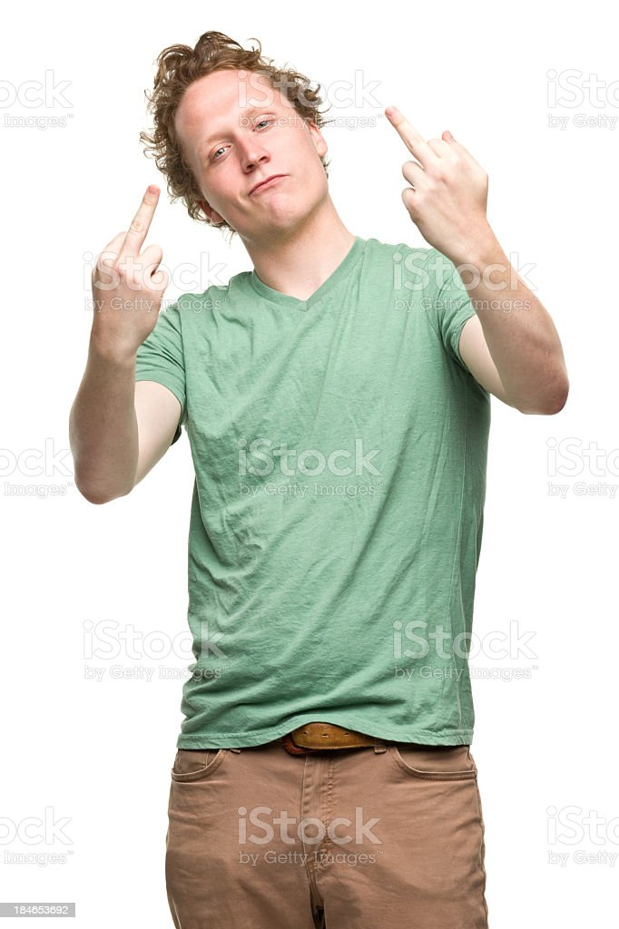 Young Man Gives Middle Fingers royalty-free stock photo