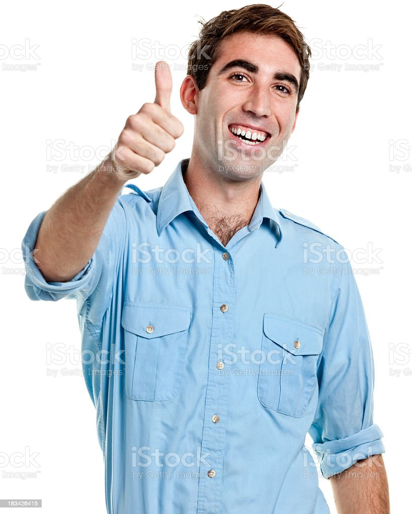 Young Man Gives Thumbs Up stock photo