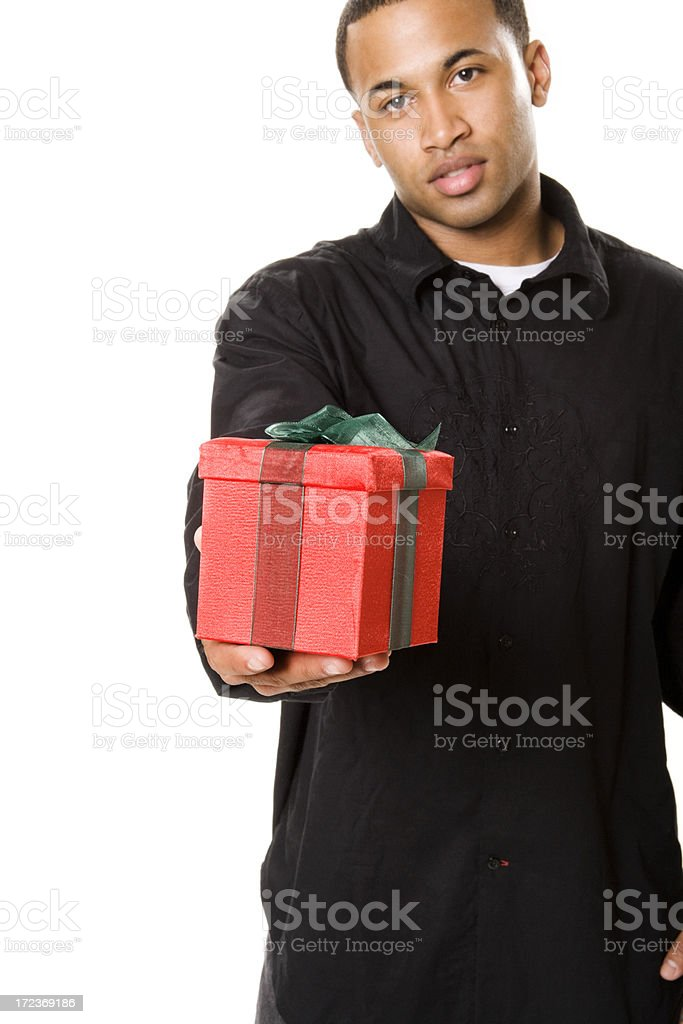 Young Man Giving Gift royalty-free stock photo