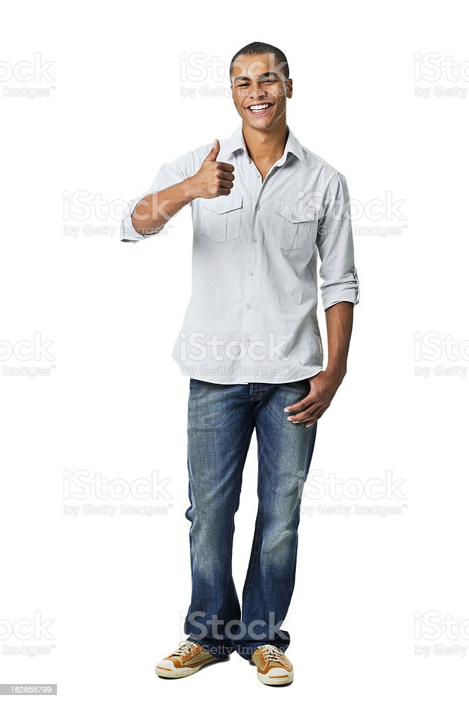 Young Man Giving Thumbs Up Gesture - Isolated royalty-free stock photo