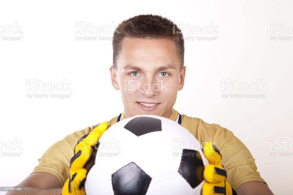 Young man goalkeeper royalty-free stock photo