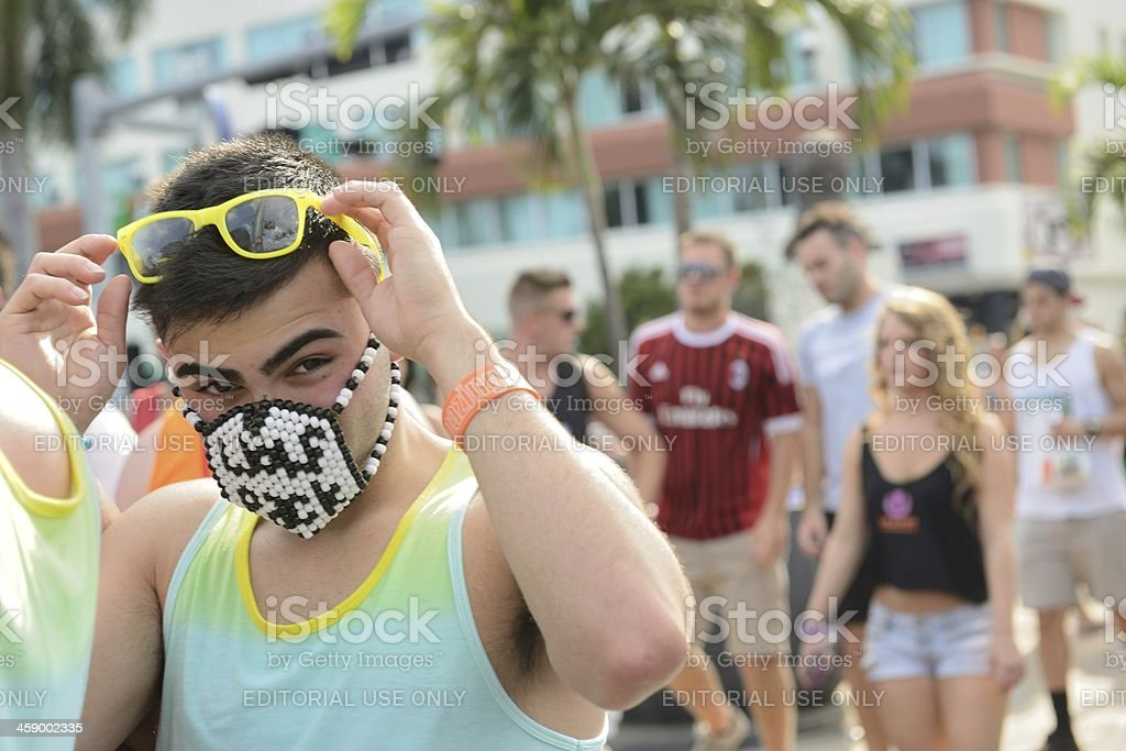 Young Man Going to Ultra Music Festival in Miami Florida stock photo