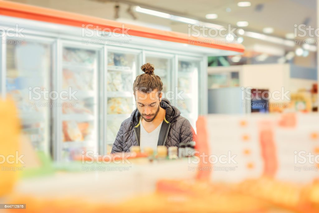 Young Man Groceries Shopping stock photo