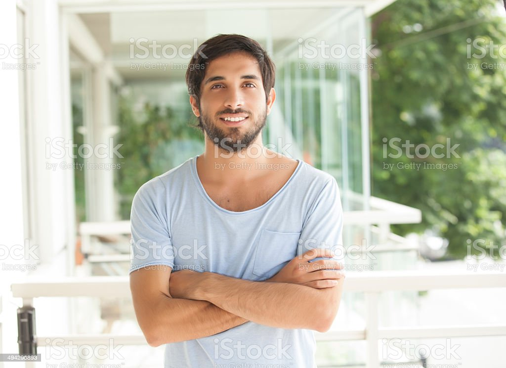 Young man happy  at home stock photo