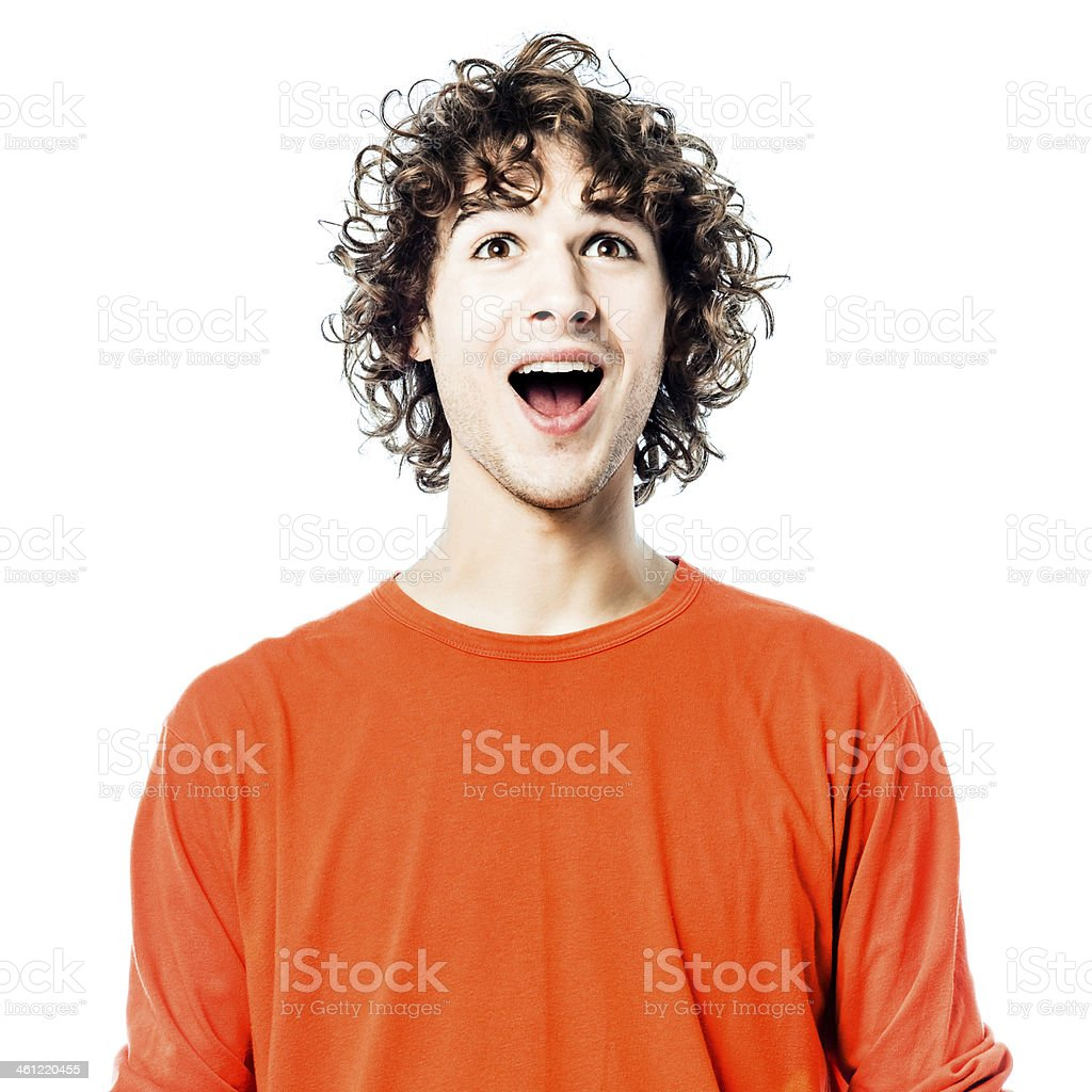 young man happy looking up portrait royalty-free stock photo