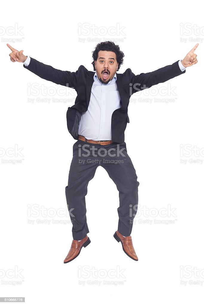 Young man happy to jump stock photo