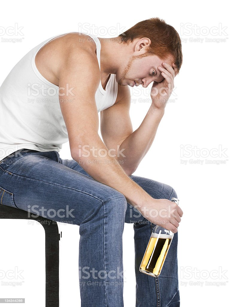 Young man has awful problems with alcohol. royalty-free stock photo