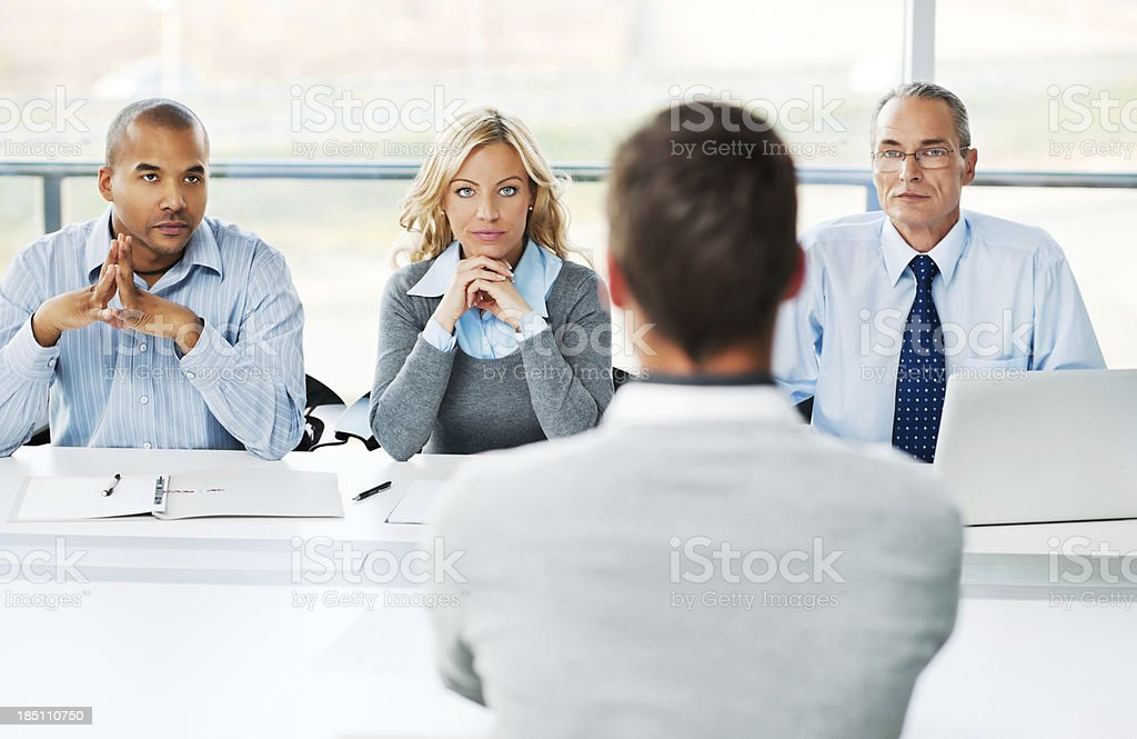 Young man have job interview. stock photo