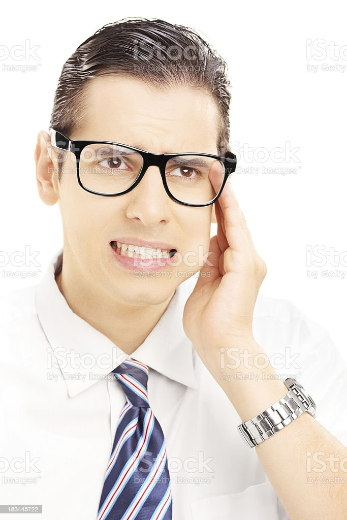 Young man having a toothache royalty-free stock photo
