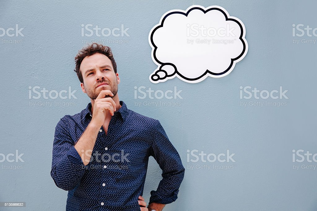 Young man having an idea stock photo