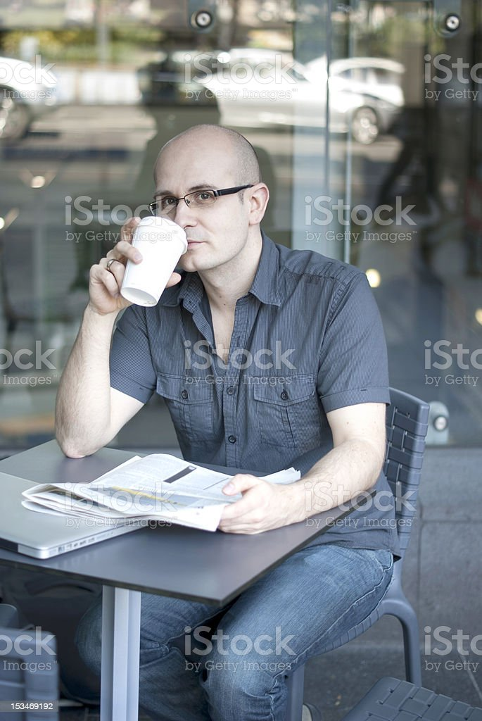 Young Man Having Coffee royalty-free stock photo