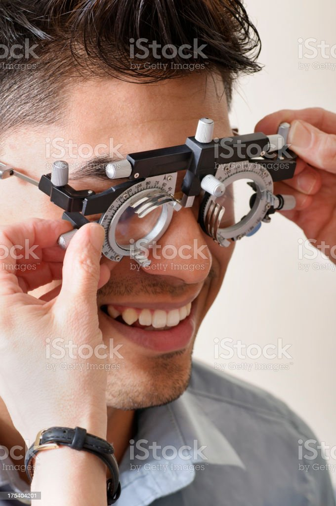 Young Man Having Vision Tested royalty-free stock photo