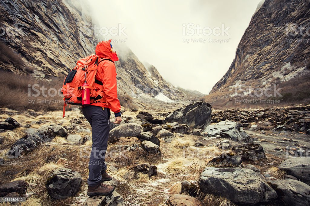Young man hiking on mountains stock photo