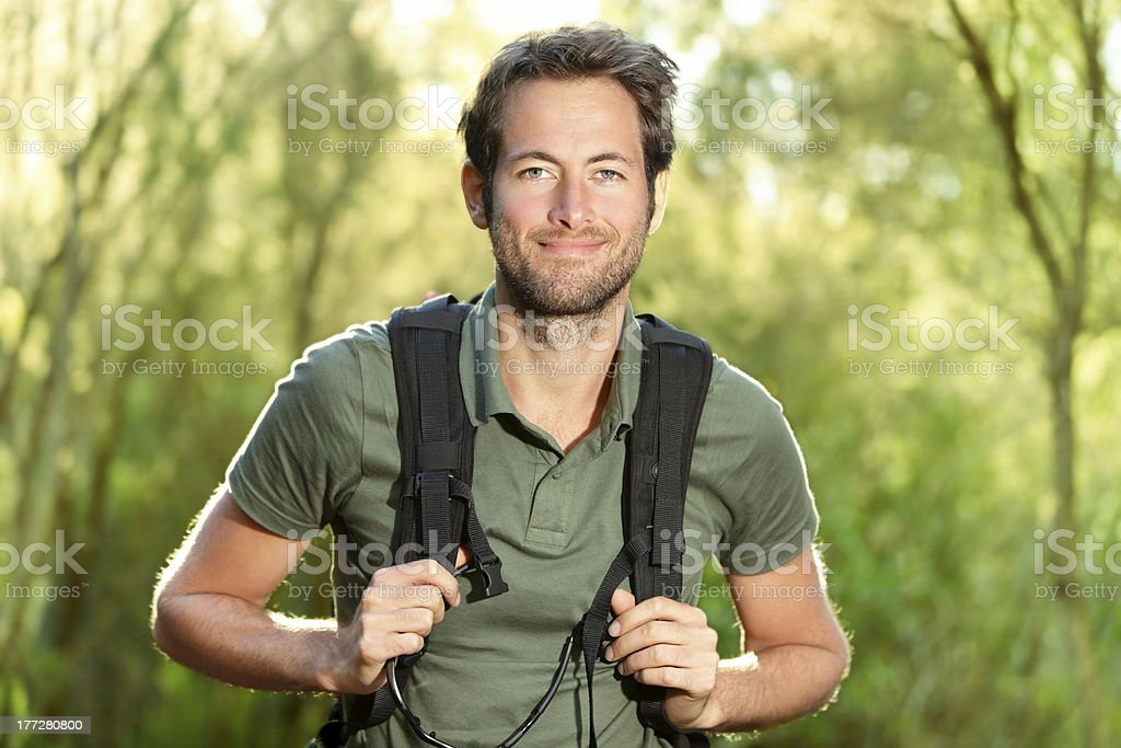 Young man hiking royalty-free stock photo