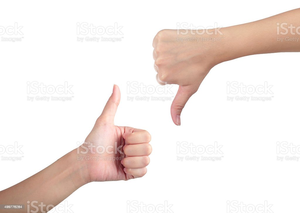 Young man his hand like with unlike thumb up. stock photo