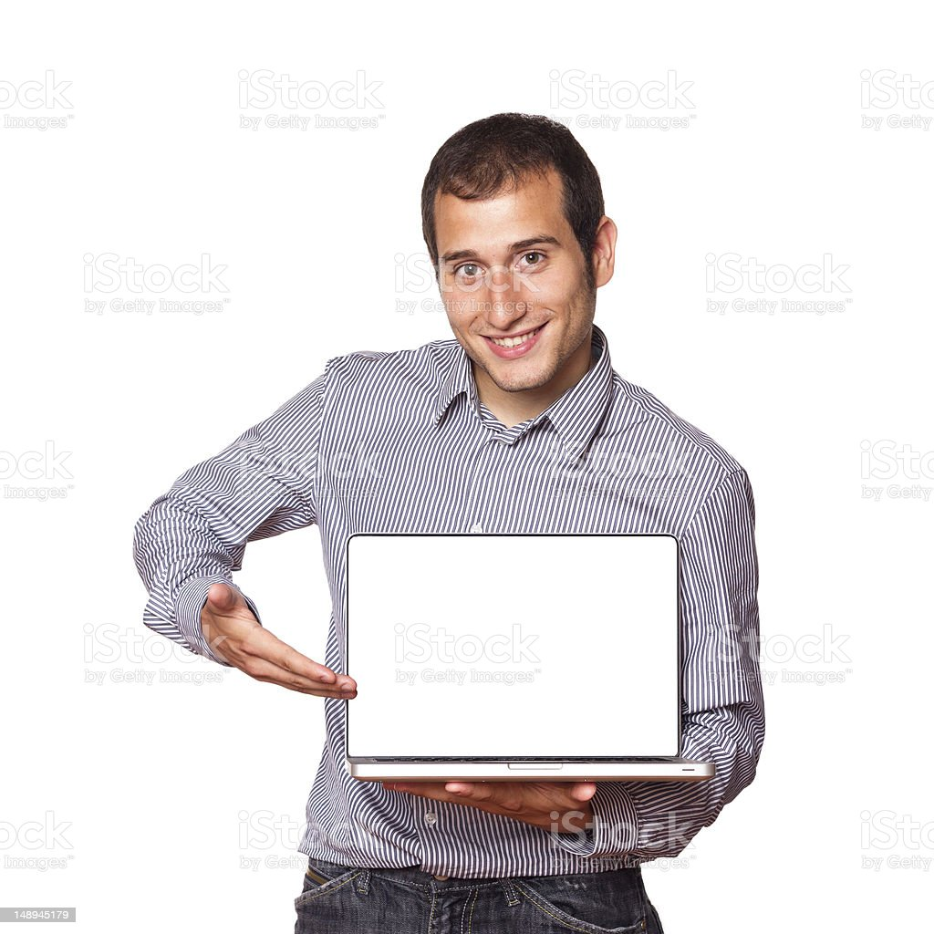 Young Man holding a Computer with Blank Screen royalty-free stock photo