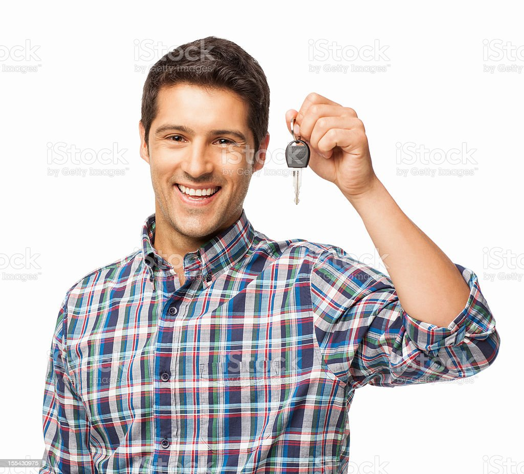 Young Man Holding Car Key - Isolated stock photo