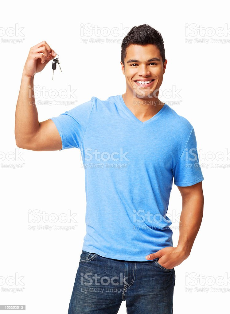 Young Man Holding Car Keys - Isolated stock photo