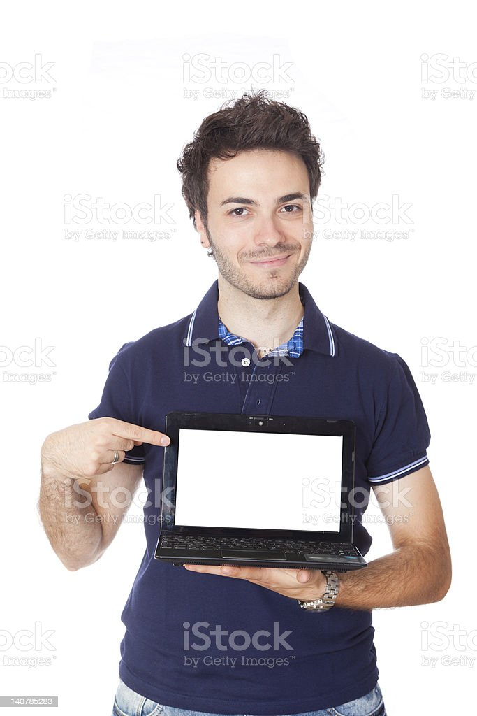 Young Man Holding Computer with Blank Screen royalty-free stock photo